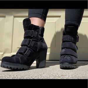 Prada Strappy Goth Heeled Booties